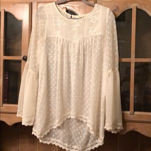 Ivory sheer lace top